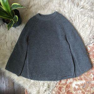 Gap Zippered Sweater Cape in Grey